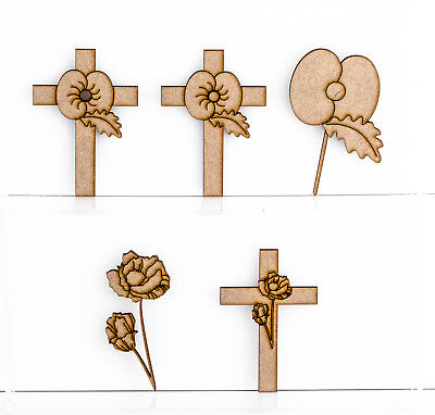 £3.99 • Buy Wooden MDF Poppy Flower Cross Craft Shape 3mm Thick Poppies Remembrance Charity