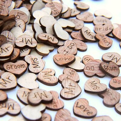 £3.49 • Buy Wedding Table Decorations Rustic Small Wooden Love Hearts Wooden Table Confetti