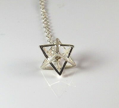 Silver Merkaba Necklace, 3D Star Of David Necklace,magen David , Jewish Jewelry • 20.26£