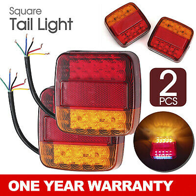 AU21.95 • Buy 2x SQUARE TRAILER TAIL TAILER LIGHT STOP INDICATOR LIGHTS LED LAMP +NUMBER PLATE