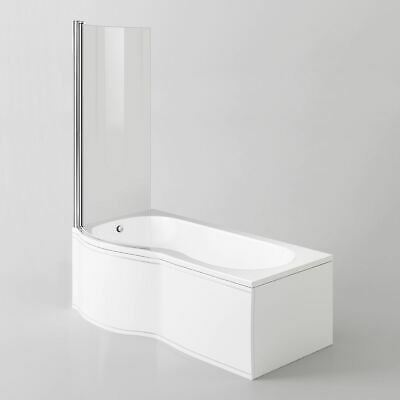 Diamond P Shaped Shower Bath - 1700mm With Screen & Front Panel - Left Hand • 269.99£