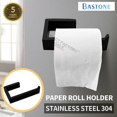 AU37 • Buy Black Toilet Paper Roll Holder 140mm Wall Hook Towel Ring SS304 Bathroom Square