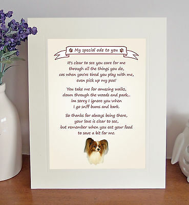 £7.50 • Buy Papillon Thank You FROM THE DOG Poem 8 X 10 Picture/10x8 Print Fun Novelty Gift