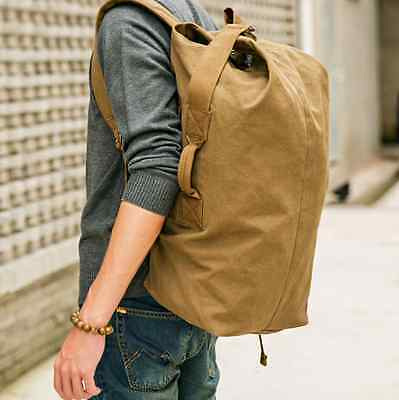 AU35.99 • Buy Large Volume 16OZ Durable Canvas Backpack Travel Carry Bag Gym Hiking Duffle Bag