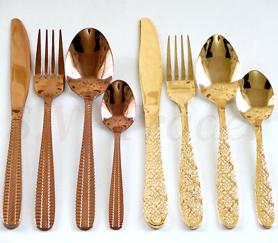 4-24 PCS Stainless Steel Stylish Copper Golden Cutlery Sets Dining Knives Spoons • 12.99£