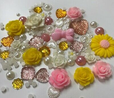 20g Pink/Yellow/Cream Pearls/Roses/Gem Flatback Kawaii Cabochons Decoden Craft  • 2.99£