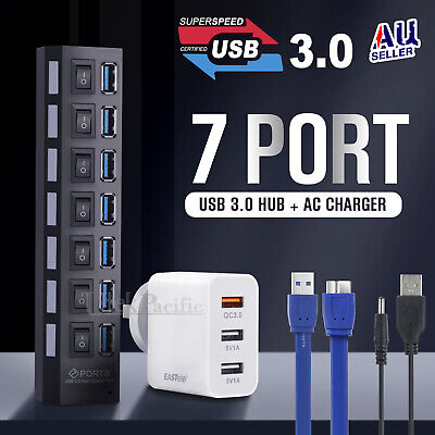 AU24.99 • Buy 7 Ports USB 3.0 HUB Powered +High Speed Splitter Extender PC AC Cable Adapter