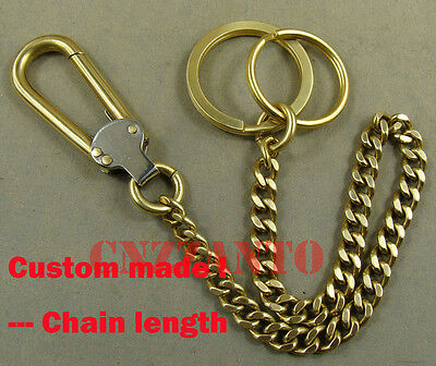 Handmade Solid Brass Fob Wallet Key Chain Ring Holder Belt Hook Clip • 11.79£