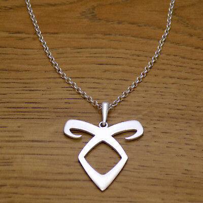Solid 925 Sterling Silver Mortal Instruments Angelic Power Rune Necklace & Chain • 20.18£