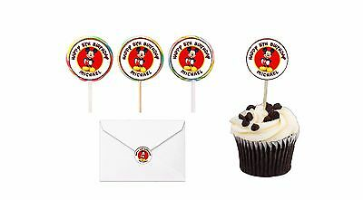 $2.99 • Buy 30 Mickey Mouse Birthday Stickers Lollipop Label Party Favors 1.5 In Personalize