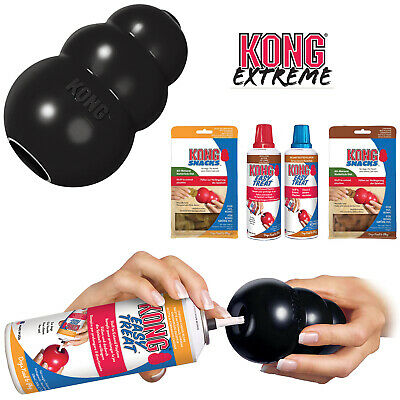 KONG Extreme Black Tough Dog Toy Teething Chew Snack Easy Treat Dispenser Paste • 10.99£