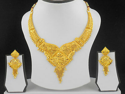 $13.99 • Buy Indian Bollywood Fashion Jewelry Gold Plated Wedding Necklace Earrings New Set