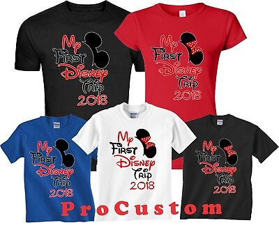 $12.99 • Buy My First Trip To Disney Family VACATION 2018 Mickey & Minnie MATCHING T-Shirts
