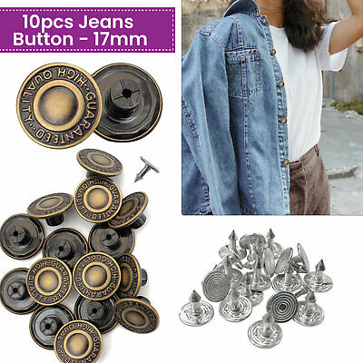 17mm Replacement Jeans Button With Pin Light Bronze For DIY Jeans Denim Jacket • 2.59£