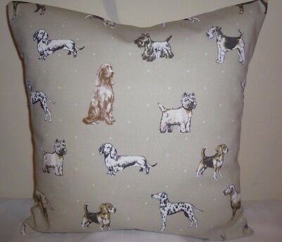 "Cushion Cover New 16"" Dog Westie Terrier Dalmatian Dachshund Best In Show Putty • 6.49£"