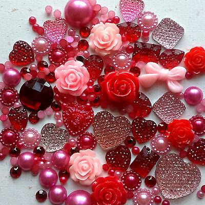 25g Valentines Mix Pearls/Roses/Gem Flatback Kawaii Cabochons Decoden Craft • 2.99£