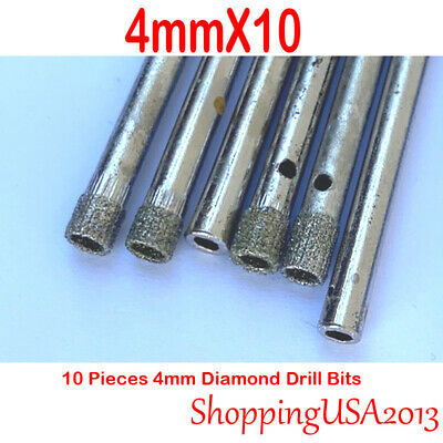 10 Pc 4mm Diamond Coated Drill Bits Set Hole Saw Cutter Tool Glass Granite Tile* • 6.29$