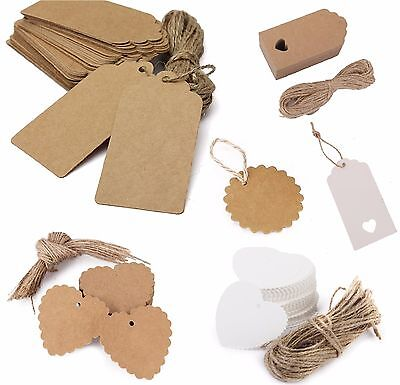 100PCS Christmas Kraft Paper Gift Tags Price Wedding Scallop Label Blank Luggage • 2.99£