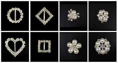 10 Pearl Embellishments Or Buckle Ribbon Sliders Diamante Crystals Craft DIY • 2.49£