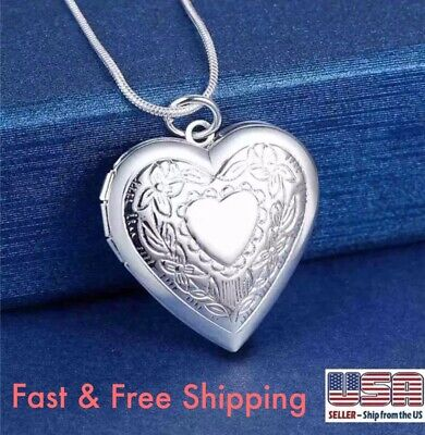 $6.99 • Buy 925 Sterling Silver Heart Necklace, Locket Photo Picture Pendant 18   N1