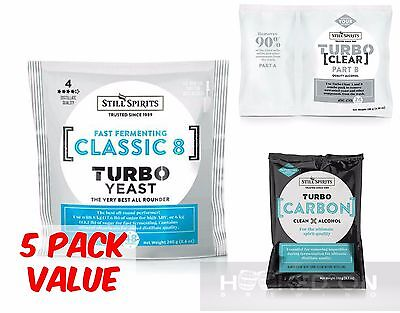 AU75.50 • Buy CLASSIC 8 Turbo Yeast Pack - 5 Pack - Yeast, Carbon , Clear