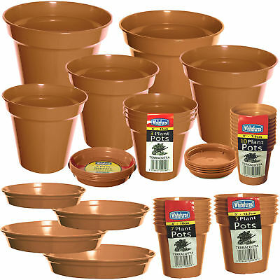 Packs Of Plastic Terracotta Plant Pots Garden Flowers Plants Or Range Of Saucers • 8.50£