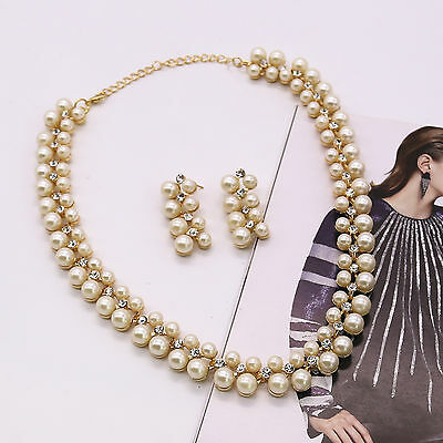 £3.99 • Buy Lady Pearl Crystal Rhinestone Choker Pendent Necklace Earrings Set Jewelry Gift