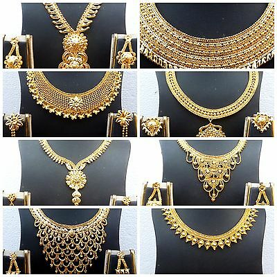 Indian 22K Gold Plated Wedding Necklace Earrings Jewelry Set Variations 8'' Set, • 8.63$
