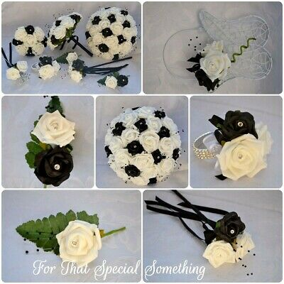 £5.45 • Buy Wedding Bouquet Posy In WHITE & BLACK With Black Pearl Spray. Buttonhole Corsage