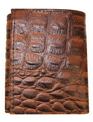 $13 • Buy AG Wallets Mens Crocodile Embossed Credit Card ID Leather Brown Trifold Wallet