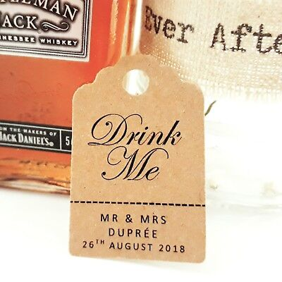 £3.50 • Buy Custom DRINK ME Wedding Favour Tags Thank You MINI Price Luggage Label Personal