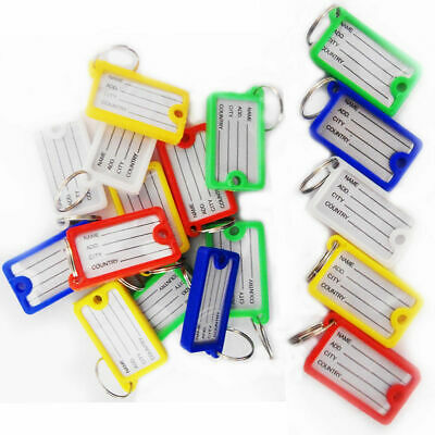 £3.99 • Buy Key Tag ID Holder Plastic Name FOB Label Small Key Chain Tags Assorted Colour