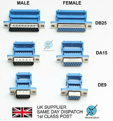 £1.99 • Buy  MALE Or FEMALE D-Sub Plug IDC Ribbon Cable Connector RS232 Serial 9 15 25 Pin