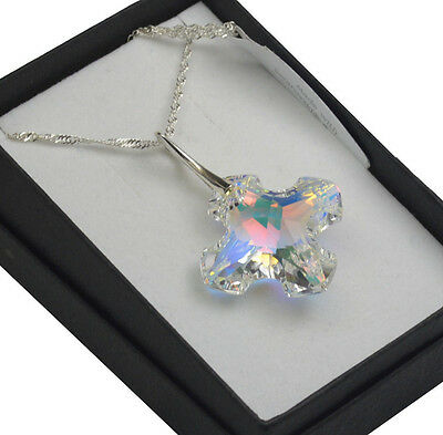 £18.99 • Buy 925 Silver Necklace Made With Swarovski Crystals *CRYSTAL AB* Greek Cross 14-28