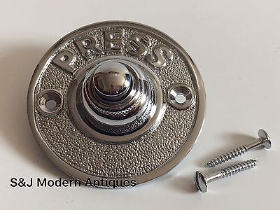Round Door Bell Antique Mains Wire Vintage Push Button Chrome Victorian Doorbell • 9.99£