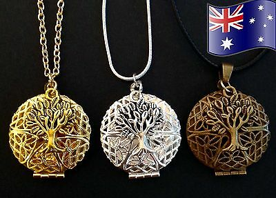 AU12.95 • Buy Tree Of Life Aromatherapy Essential Oil Diffuser Pendant Necklace + FREE Pads