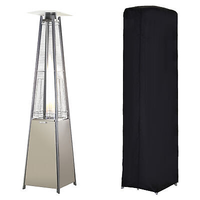Outsunny 13KW Pyramid Patio Gas Heater Outdoor Warmer Stainless Steel W/ Wheels • 176.99£