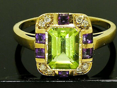 AU604.53 • Buy R285 REAL 9K Gold Natural Peridot Amethyst Diamond Ring Suffragette In Yr Size