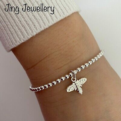 Bee Charm Silver Plated Beaded Stretch Stacking Bracelet Handmade • 6.99£