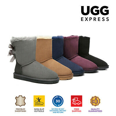 AU95 • Buy UGG Boots Ladies Bailey Bow Fashion Short Classic, Premium Australian Sheepskin