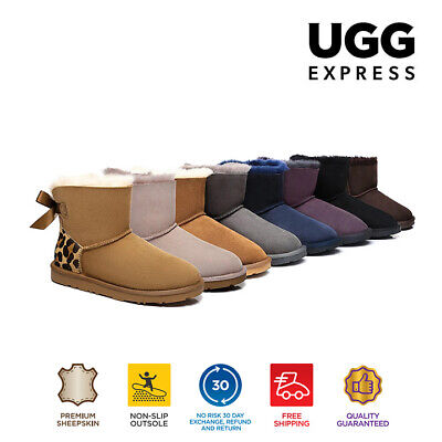 AU51 • Buy UGG Boots Ankle Mini Bailey Ribbon Bow, Premiu Australian Sheepskin