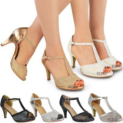 £13.99 • Buy Womens Ladies Wedding Bridal Shoes Prom High Heel Diamante Party Sandals Size