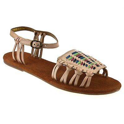 Ladies Womens Flat Heel Leather Ankle Strap Summer Gladiator Sandals Shoes Size • 12.98£