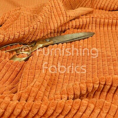 Furnishing Upholstery Fabric Brick Effect Pattern Texture Cord New Orange Colour • 8.99£
