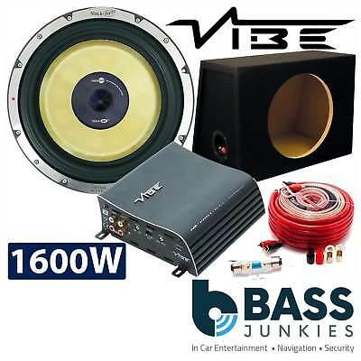Vibe 1600 WATTS Blackair 12  Car Sub Bass Subwoofer 1000W Mono Amp Box & Amp Kit • 979£