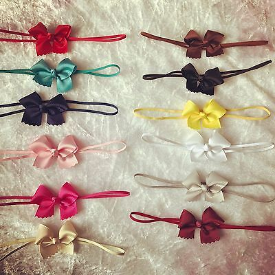 Baby Girls Small Tiny Bow 6cm Headband Skinny Elastic Band Hair Accessories +Lot • 1.39£