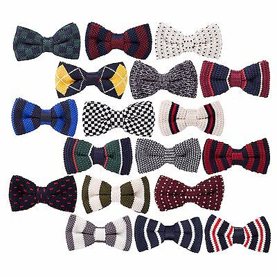 £4.49 • Buy Vintage Tweed Style Classic Skinny 100% Knitted Pattern Soft Wool Neck Bow Tie