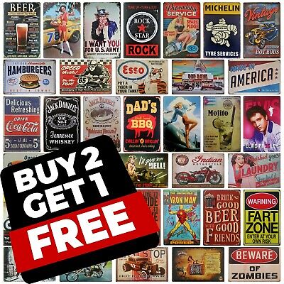 20x30 Metal Plaque Vintage Retro Americana Harley Biker Garage Man Cave Tin Sign • 5.85£