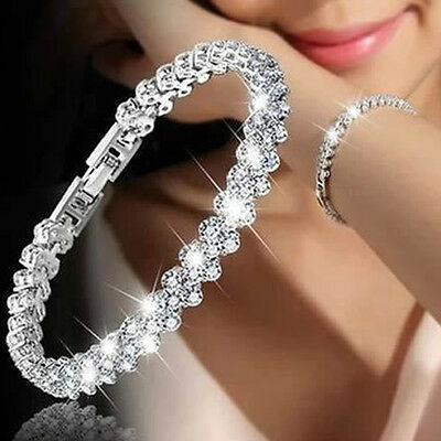 $1.25 • Buy Women Crystal Rhinestone Tennis Bracelet Bangle Wedding Bridal Wristband Jewelry