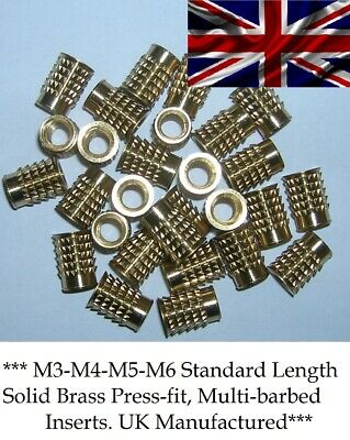 $4.53 • Buy Threaded Brass Press-in Inserts For Plastic Multi-barbed, Press-fit M3-m4-m5-m6